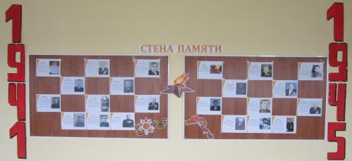 """Стена Памяти, созданная учащимися 6 классов на Погружении по теме: """"Великая Отечественная война"""""""