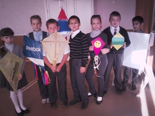 Участники парада воздушных змей. 3 А класс.