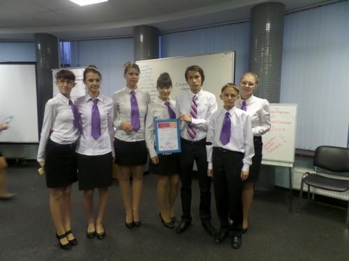 Команда школы стала лауреатом в г. Казань на семинаре «Школьные  компании.  Успешный  старт»  2014, октябрь